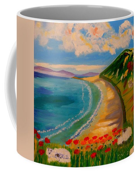 Seascape Coffee Mug featuring the painting Spring Lambs at Rhossili Bay by Rusty Gladdish