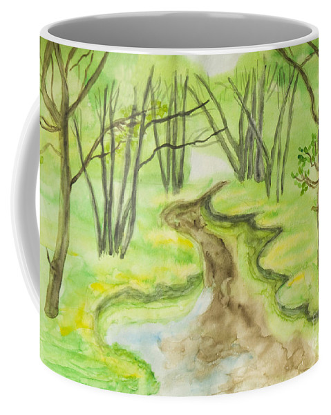 Art Coffee Mug featuring the painting Spring Landscape, Watercolours by Irina Afonskaya