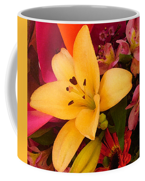 Lily Coffee Mug featuring the painting Spring Lily Bouquet by Amy Vangsgard