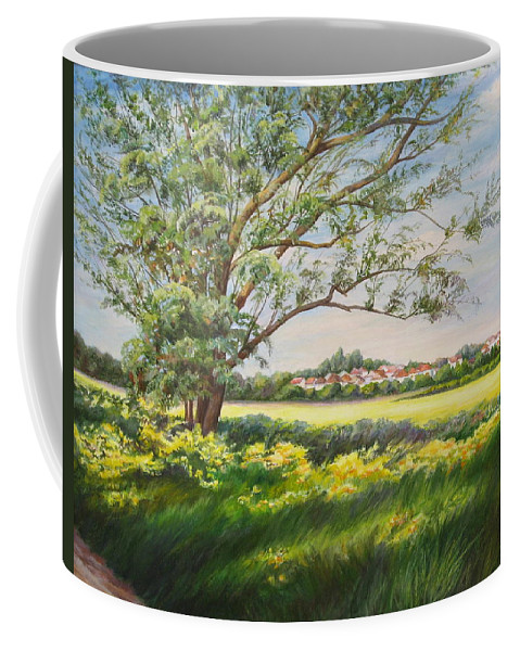 Landscape Coffee Mug featuring the painting Spring by Maya Bukhina