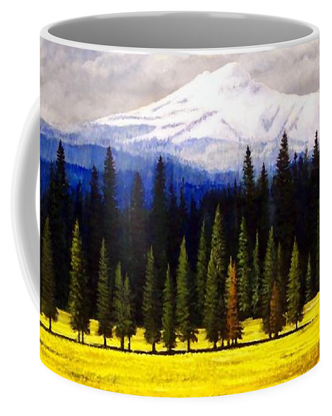 Landscape Coffee Mug featuring the painting Spring Meadow Mount Brokeoff by Frank Wilson