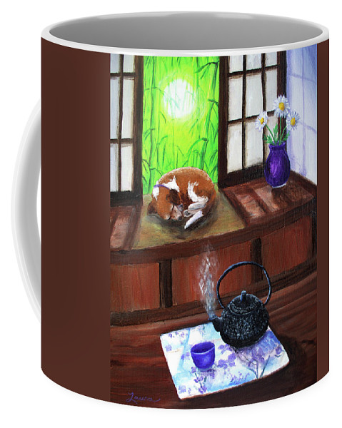 Zen Coffee Mug featuring the painting Spring Morning Tea by Laura Iverson