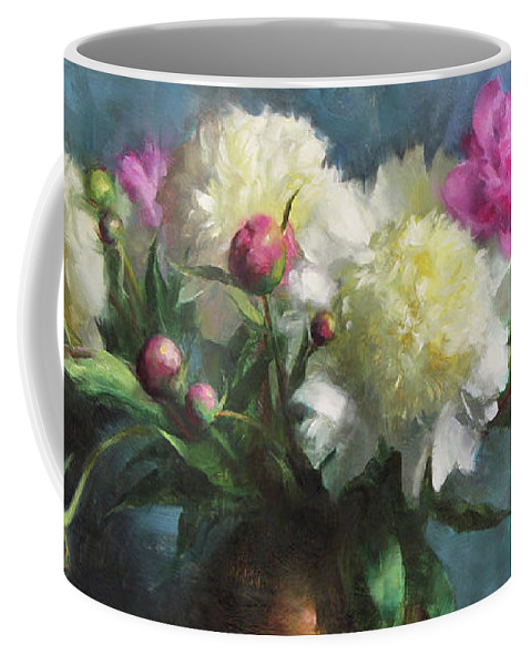 Peonies Coffee Mug featuring the painting Spring Peonies by Anna Rose Bain
