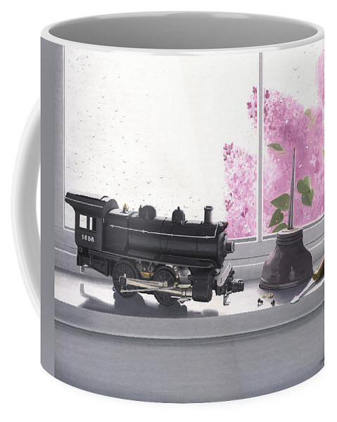 Lionel Coffee Mug featuring the painting Spring Rain Electric Train by Gary Giacomelli