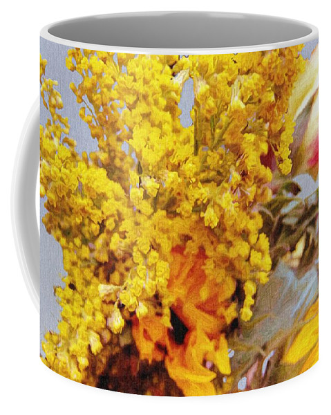 Blue Coffee Mug featuring the painting Spring Sky Bouquet by RC DeWinter