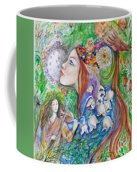 Lilies Of The Valley Coffee Mug featuring the mixed media Spring Song by Rita Fetisov