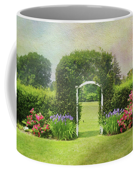 Trellis Coffee Mug featuring the photograph Spring Trellis by Diana Angstadt