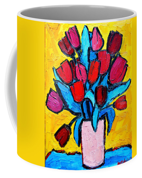 Tulips Coffee Mug featuring the painting Spring Tulips by Ana Maria Edulescu