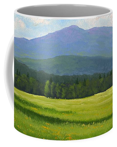 Landscape Coffee Mug featuring the painting Spring Vista by Frank Wilson