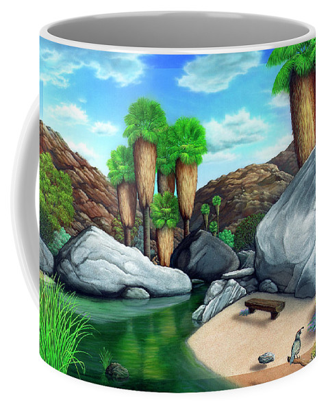 Landscape Coffee Mug featuring the painting Springtime In The Canyons by Snake Jagger