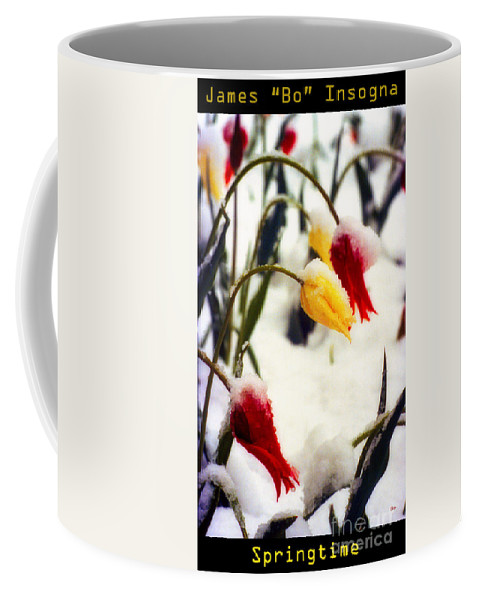 Tulips Coffee Mug featuring the photograph Springtime Tulips In The Snow Poster Print by James BO Insogna
