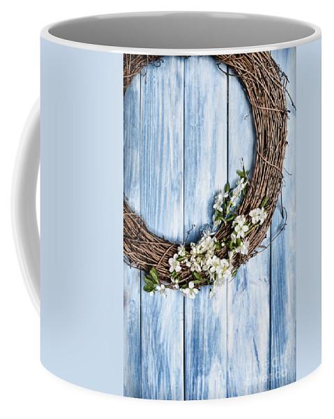 Garland Coffee Mug featuring the photograph Springtime Wreath by Amanda Elwell