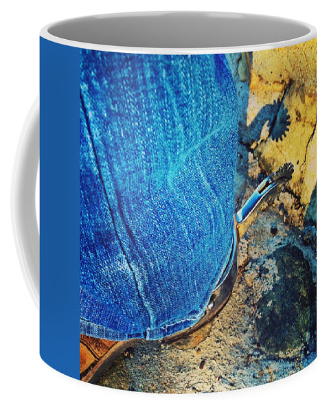 Western Coffee Mug featuring the photograph Spur Shadow On Stone by JoJo Brown
