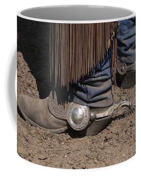 Western Coffee Mug featuring the photograph Spurs N' Rowels by Sandra Bronstein