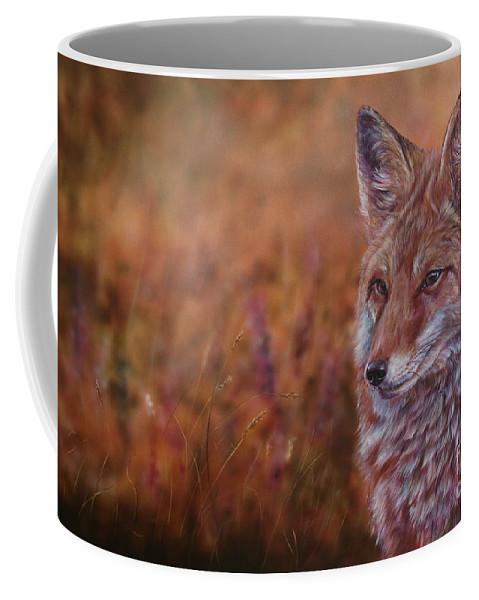 Fox Coffee Mug featuring the painting Spy by Lachri