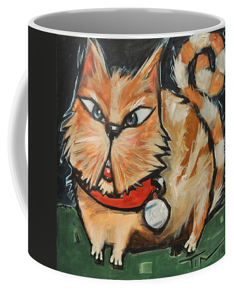 Cat Coffee Mug featuring the painting Square Cat Two by Tim Nyberg