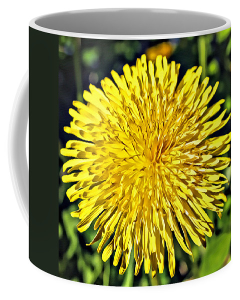 Flower Coffee Mug featuring the photograph Square Yellow Dandelion by Modern Art