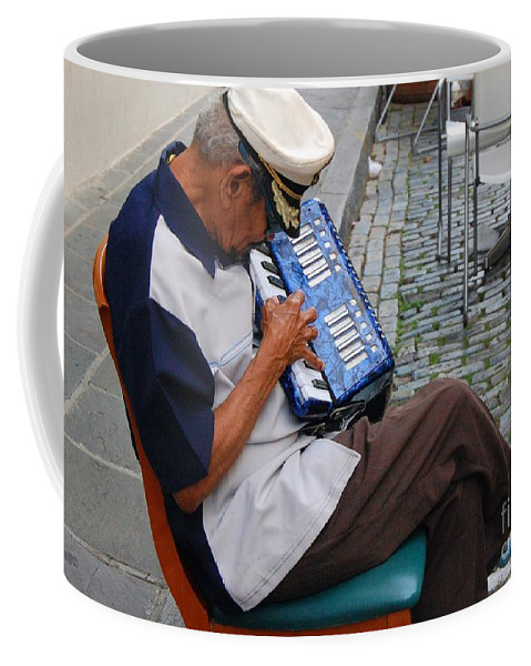 People Coffee Mug featuring the photograph Squeeze Box by Debbi Granruth