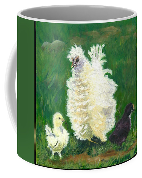 Bantam Frizzle Farmscene Chickens Hen Bird Nature Animals Spring Freerangers Coffee Mug featuring the painting Squiggle by Paula Emery