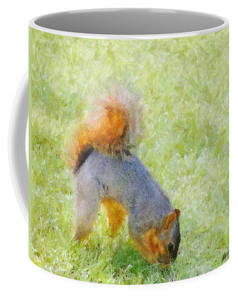Squirrel Coffee Mug featuring the painting Squirrelly by Jeffrey Kolker