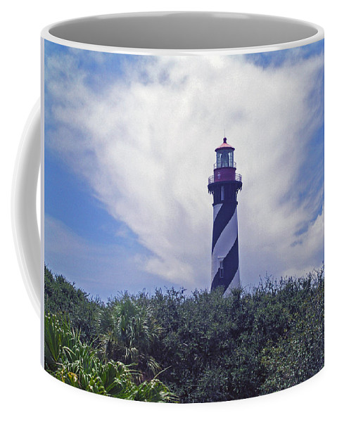 Lighthouse; Light; House; Keeper; St. Augustine; Florida; Coast; Shine; Fog; Storms; U.s.; Coast Gua Coffee Mug featuring the photograph St Augustine Light On The Atlantic Coast Of Florida by Allan Hughes