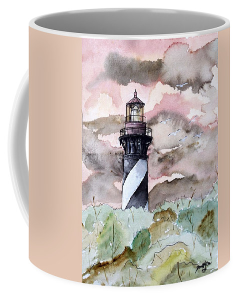 Lighthouse Coffee Mug featuring the painting St Augustine Lighthouse by Derek Mccrea