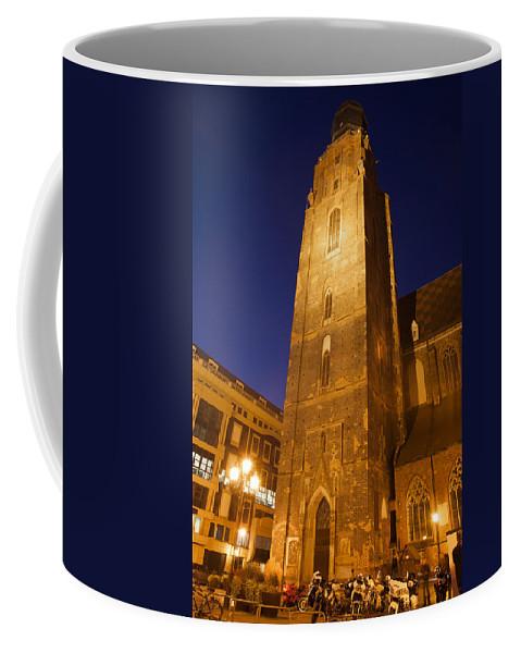 Wroclaw Coffee Mug featuring the photograph St. Elizabeth's Church Tower At Night In Wroclaw by Artur Bogacki