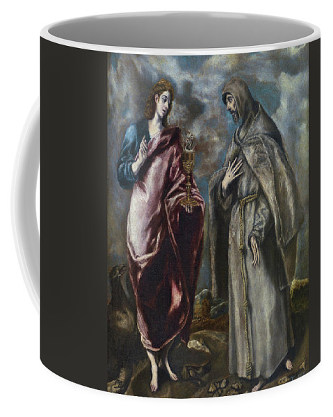 Apostle Coffee Mug featuring the painting St. John The Evangelist And St. Francis Of Assisi by El Greco