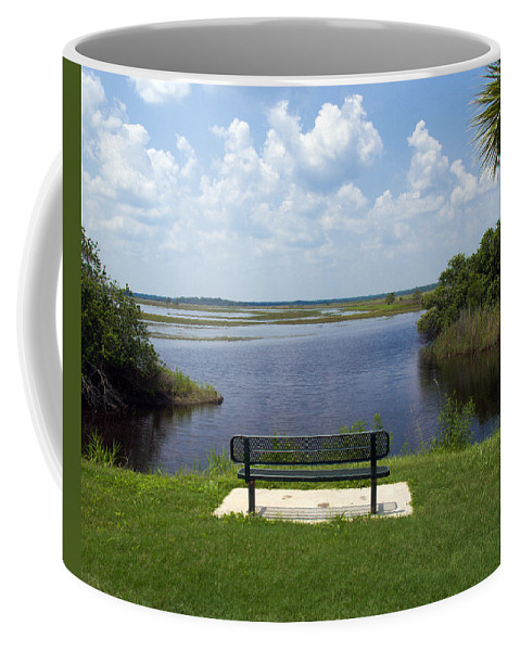 St; Saint; John; Johns; River; Creek; Stream; Water; Waterway; Clouds; Reflections; Look; Over; Over Coffee Mug featuring the photograph St Johns River In Florida by Allan Hughes