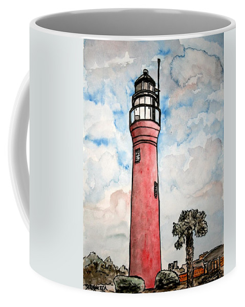 Lighthouse Coffee Mug featuring the painting St Johns River Lighthouse Florida by Derek Mccrea