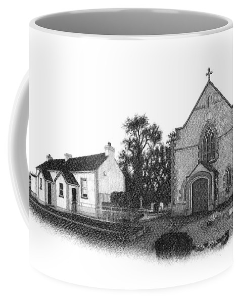 St John Coffee Mug featuring the drawing St. John's School And Chapel - Annaghmore by Conor O'Brien