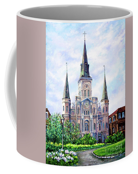 New Orleans Art Coffee Mug featuring the painting St. Louis Cathedral by Dianne Parks