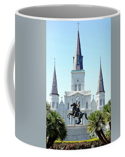 St. Louis Cathedral Coffee Mug featuring the photograph St. Louis Cathedral From Jackson Square by Robert Meyers-Lussier