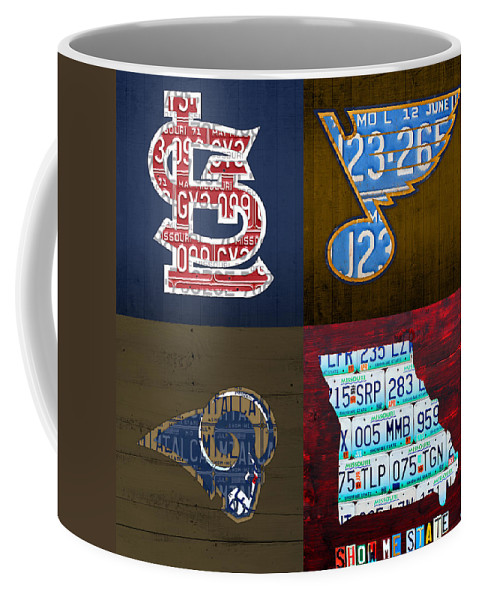 St Louis Coffee Mug featuring the mixed media St Louis Sports Fan Recycled Vintage Missouri License Plate Art Cardinals Blues Rams by Design Turnpike