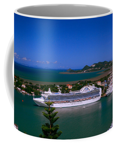 Cruise Ships Coffee Mug featuring the photograph St. Lucia Port by Gary Wonning