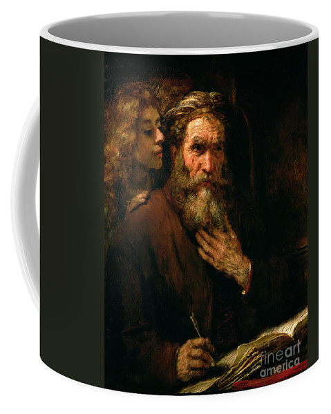 Old Man; Bearded; Gospel; Evangelist; Pen; Writing Coffee Mug featuring the painting St Matthew And The Angel by Rembrandt Harmensz van Rijn