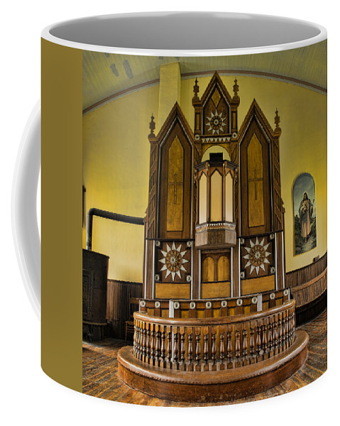Texas Coffee Mug featuring the photograph St Olafs Kirke Pulpit by Stephen Stookey
