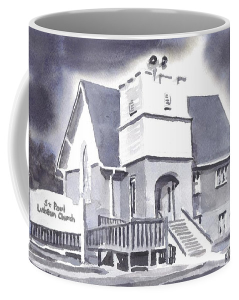 St Paul Lutheran With Ink Coffee Mug featuring the painting St Paul Lutheran With Ink by Kip DeVore