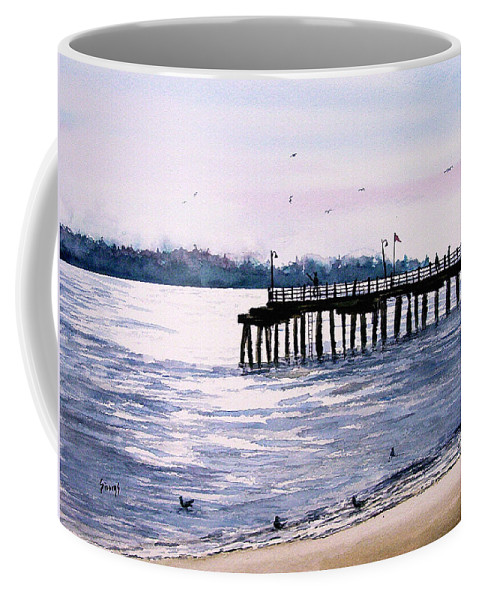 Fishing Coffee Mug featuring the painting St. Simons Island Fishing Pier by Sam Sidders