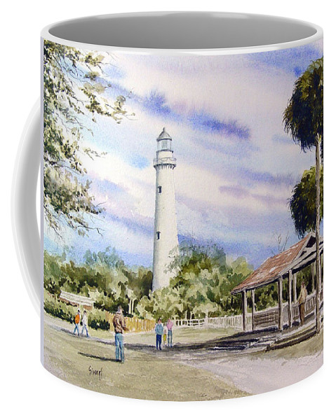 Lighthouse Coffee Mug featuring the painting St. Simons Island Lighthouse by Sam Sidders