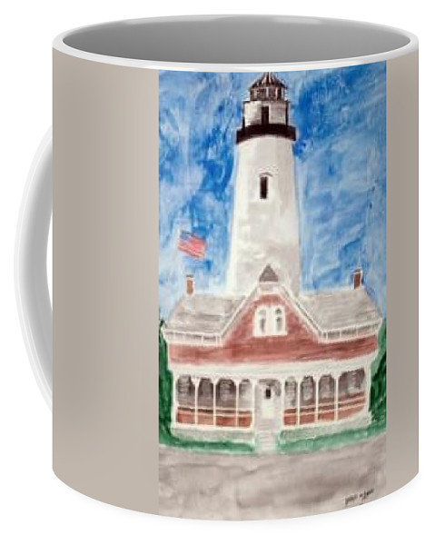 Watercolor Landscape Lighthouse Seascape Painting Coffee Mug featuring the painting ST SIMONS LIGHTHOUSE nautical painting print by Derek Mccrea