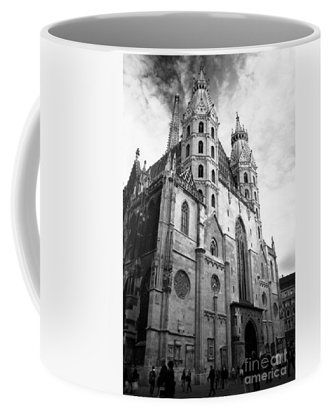 Arch Coffee Mug featuring the photograph St Stephens Cathedral Vienna In Black And White by Angela Rath