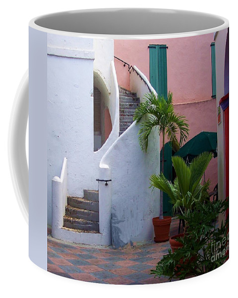 Architecture Coffee Mug featuring the photograph St. Thomas Courtyard by Debbi Granruth