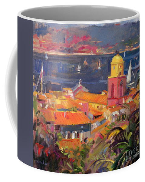 San Coffee Mug featuring the painting St Tropez Sailing by Peter Graham