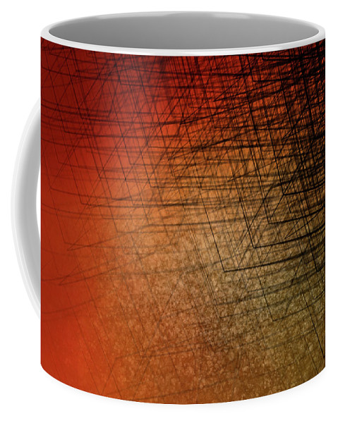 Stacked Boxes-sunset Coffee Mug featuring the digital art Stacked Boxes-sunset by Kris Haney Sirk Designs Ltd
