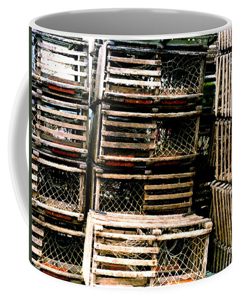 Lobster Traps Coffee Mug featuring the painting Stacked Traps by Paul Sachtleben