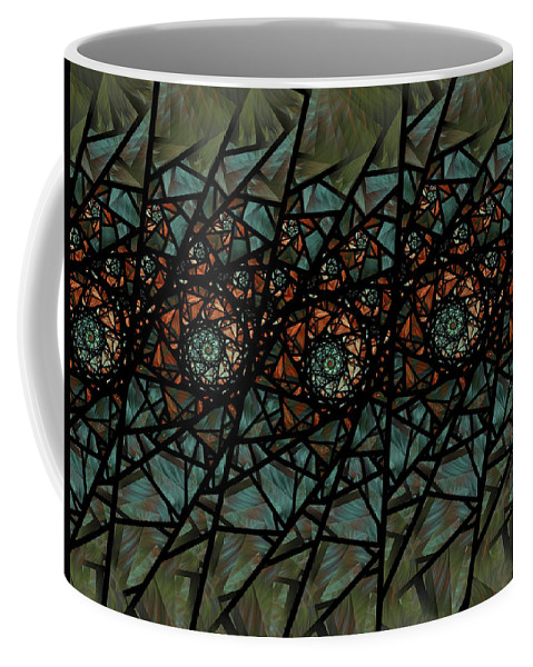 Fractal Coffee Mug featuring the digital art Stained Glass Floral I by Amorina Ashton