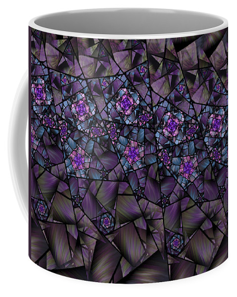 Fractal Coffee Mug featuring the digital art Stained Glass Floral II by Amorina Ashton