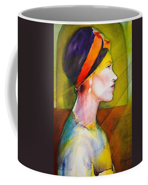 Church Woman Coffee Mug featuring the painting Stained Glass by Gene Traganza