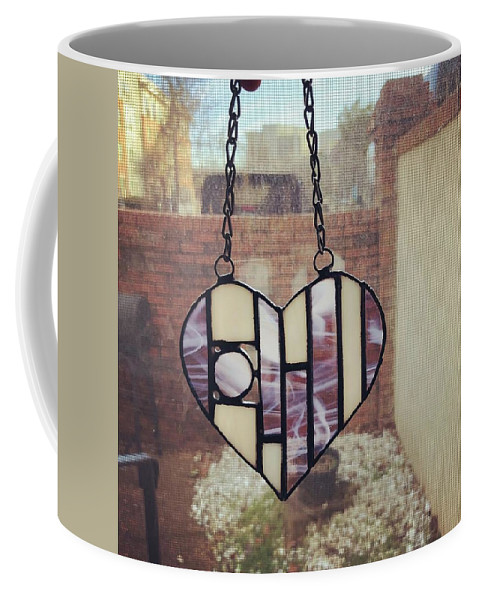 Heart Coffee Mug featuring the glass art Stained Glass Heart by Summer Porter
